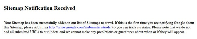 Message after submitting sitemap to Google