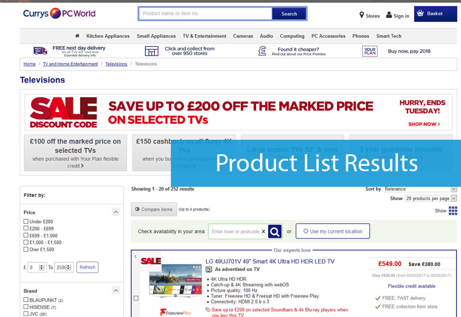 Product list serps