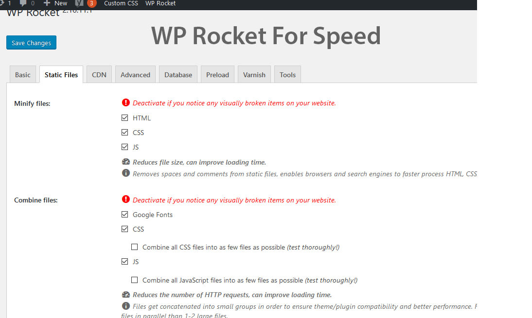 WP Rocket speed settings