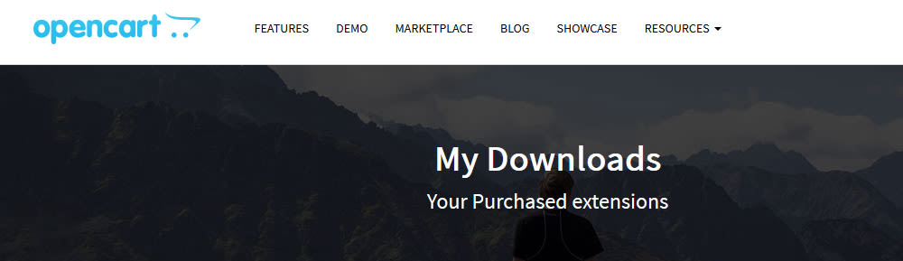 Opencart extensions page