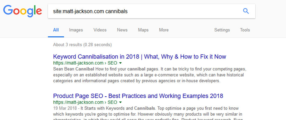 Example of searching for cannibals