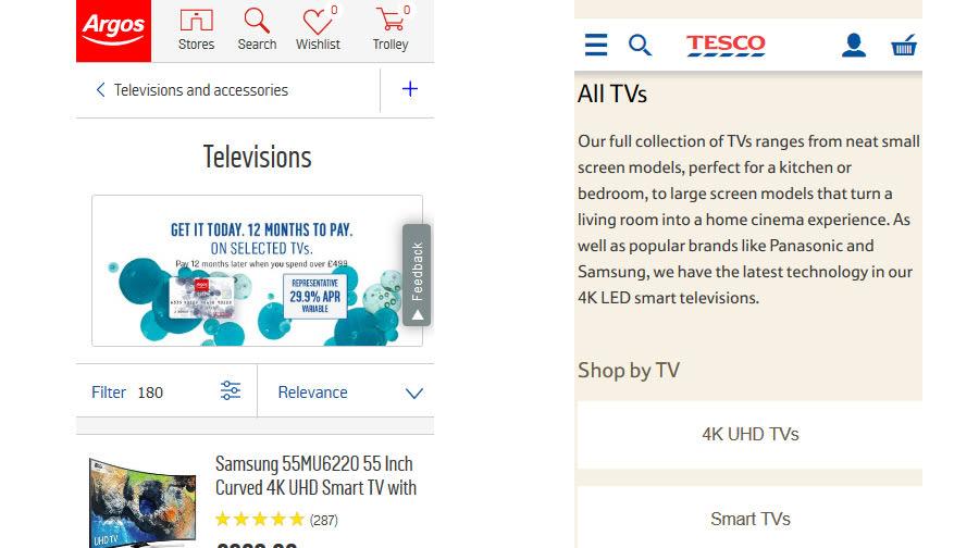 Good mobile ecommerce headers