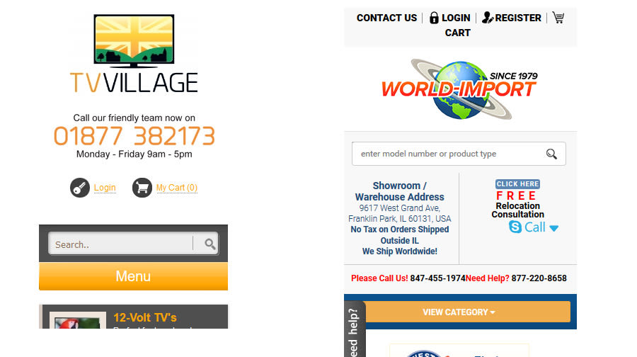 Example of large mobile header on ecommerce websites