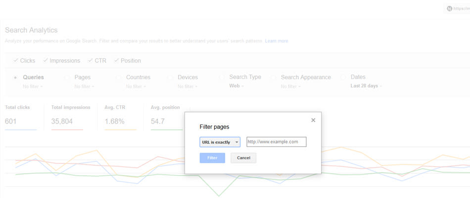 Search analytics filter by page