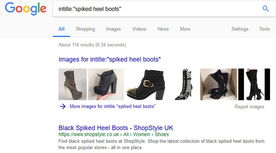 All in title google results for spiked heel boots