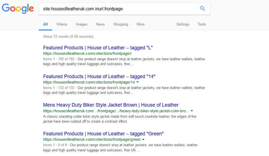 Indexed Shopify Frontpage