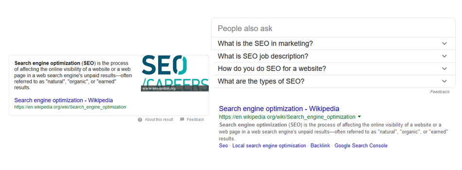 Google results for the term SEO