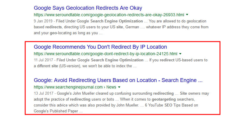 GEO ip redirection serps