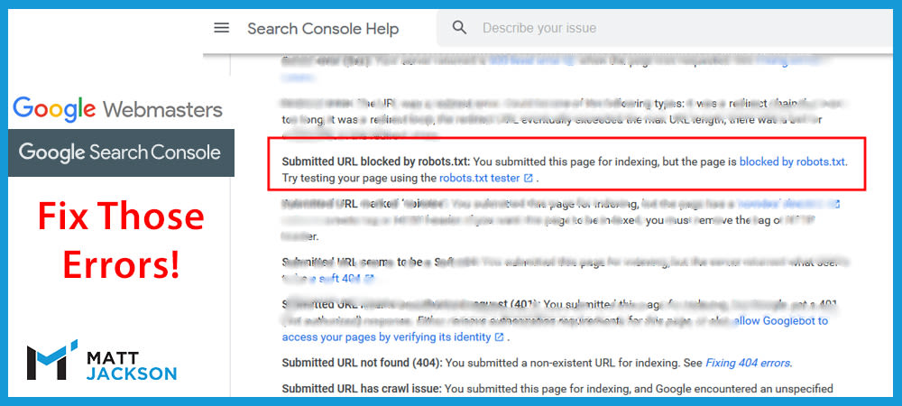 Submitted URL Blocked by Robots txt – Fixing Google Search