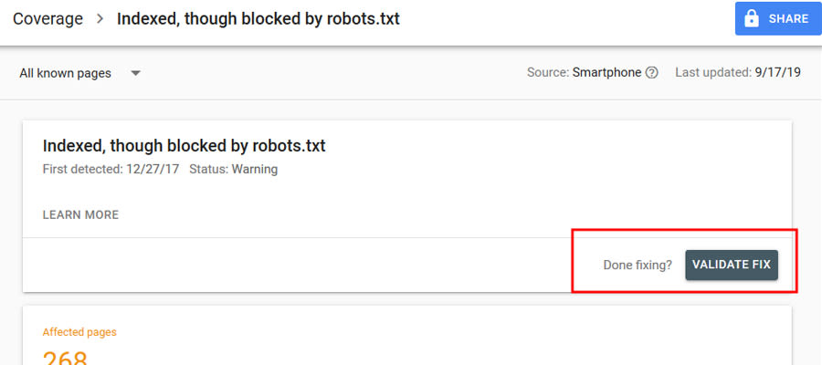 indexed though blocked by robots.txt