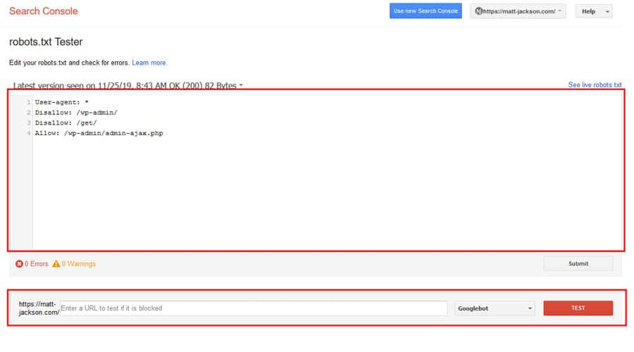 robots.txt testing tool Google Search Console
