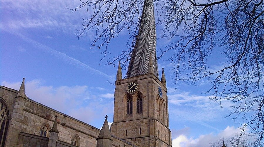 the crooked spire in Chesterfield city centre