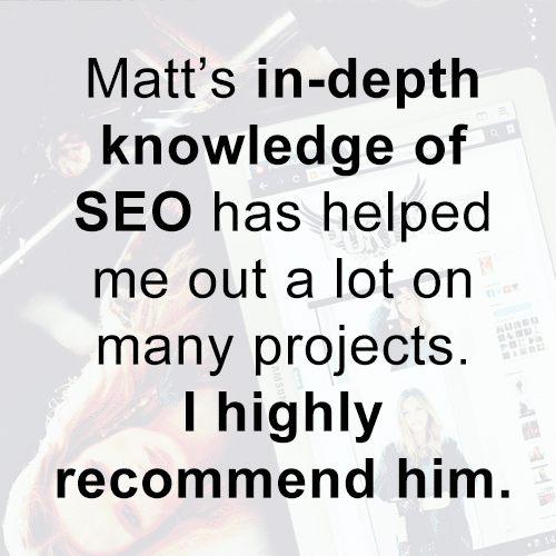 highly recommend him for SEO
