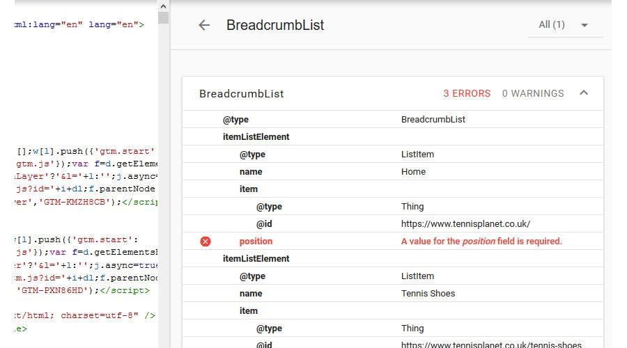 missing position in breadcrumb schema.org code